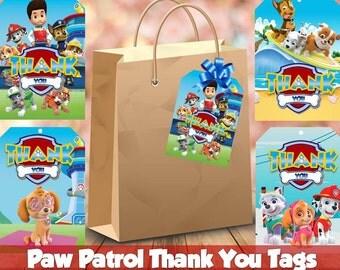Paw Patrol Thank You Tags, Printable, Paw Patrol Party, 4 Designs Tags, Children Party, Printable Party, Paw Patrol tags