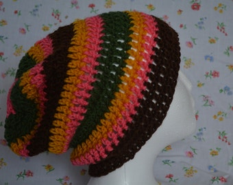 Striped crocheted slouchy beanie hat (brown, pink, green, goldenrod)