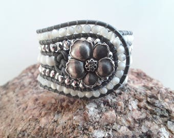 5 Row Leather Wrap Cuff Bracelet with White and Silver Beads