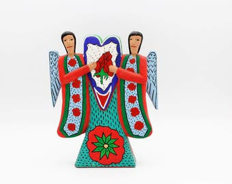 Vintage Carved Oaxacan Angels With a Heart