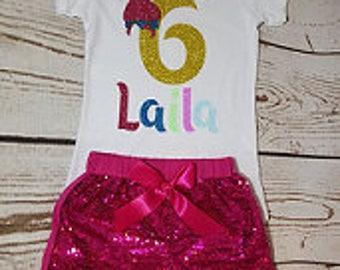 Trolls Birthday Outfit, Girl Birthday, 1st, 2nd, 3rd, 4th, 5th, 6th Birthday Outfit, Colorful Birthday, Pink Birthday Outfit
