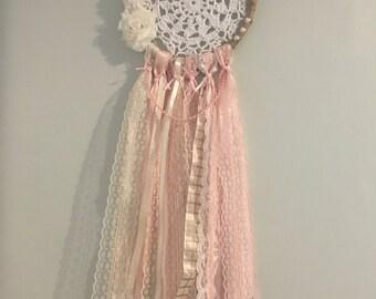 Handmade crochet dremacatcher blush pink