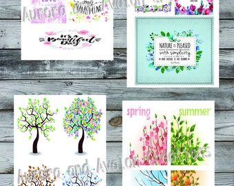Set of 4 Seasonal and quotes