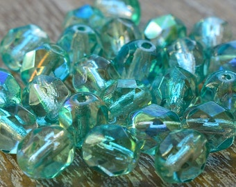 6mm Beads, Faceted Beads, Czech Beads, Fire Polished Beads, Czech Glass Beads, Bead Supply, Turquoise Beads, Crystal Turquoise AB, Pack 25