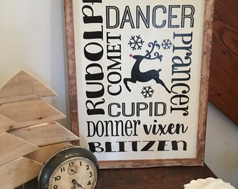 READY TO SHIP, Holiday Signs, Reindeer sign, Rustic Christmas, Rustic holiday sign, Christmas Sign, Wood sign,