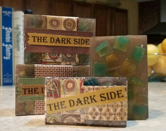 THE DARK SIDE Masculine Woodsy Handmade Bar Soap. Summer Sale, add 25% coupon at checkout.