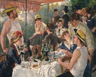 Pierre Auguste Renoir : Luncheon of the Boating Party (1880-1881) Canvas Gallery Wrapped Wall Art Print