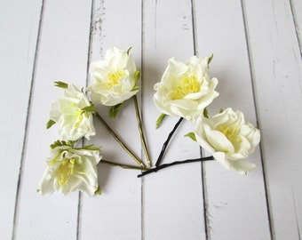 Set of Wedding White Flower Hair Pin Accessories - Flowers hair decoration - Floral Bobby Pin - Hair Adornments - Unique Prom Hair Pieces
