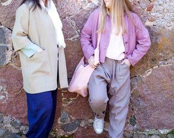 Linen Kimono jacket|linen clothing| 3/4 sleeves| K040