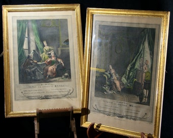 Pair of French lithographs of 18th century engravings, French aristocracy, cautionary tales, The dressing room & the boudoir