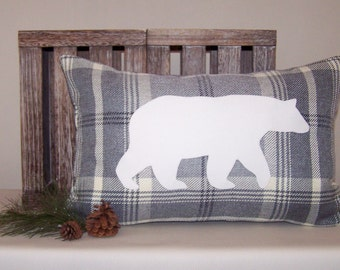 Gray Plaid Lumbar Pillow Cover with Off-White Micro-Suede Polar Bear Applique 13x20