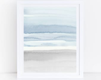 Blue Grey Abstract Art, Printable Abstract Art, Blue Grey Watercolor Print, Blue Gray Wall Art, Abstract Art, Blue Watercolor, Neutral Art