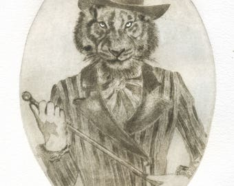 """Mr. Tiger"" original engraving / Gentleman/tiger/Tiger/printmaking/etching/engraving/portret Tiger/printprint art/art/Gentleman cat"