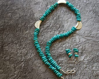 Sleeping Beauty Turquoise, Sterling Silver Necklace with Matching Earrings.