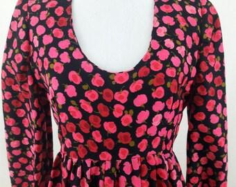 1970's Rose Print Maxi Dress