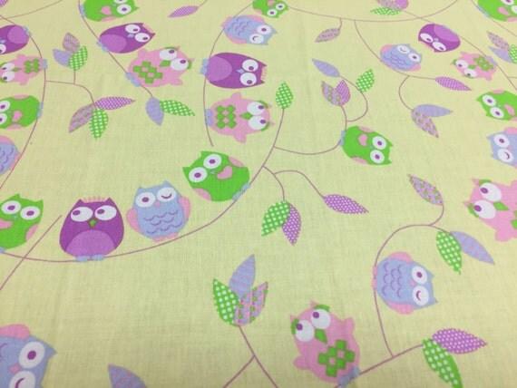 Fabric owl print fabric kids fabric satin cotton fabric for Kids print fabric