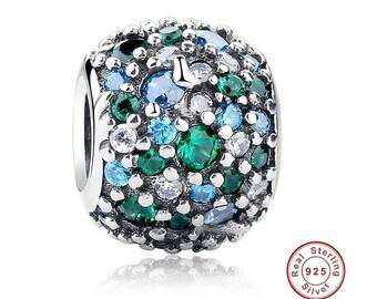OCEAN  MOSAIC Charm Green CZ, 100% Real 925 Sterling Silver, Fits Pandora, Famous European Snake Chain Bracelet, DiY Jewelry.