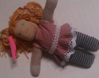 Waldorf Doll, 11 inch (28 cm), handmade, unique, cloth doll, fabric doll