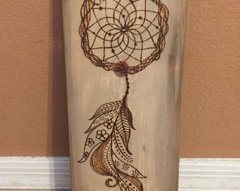 Dreamcatcher and feather wood sign