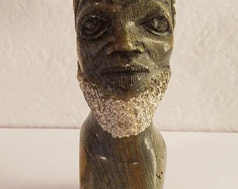 African Vintage Marble Head Bust - Male