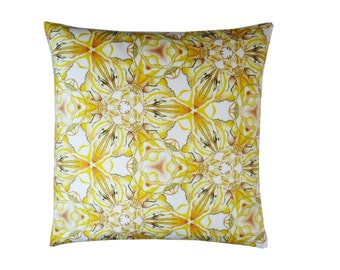 "arteneur. ""Sunflower"" cushion case in modern flower ethno style pattern in yellow & orange - 100% Mako satin (cotton) - Made in Germany"
