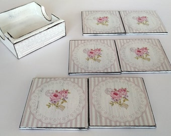 Decoupage coasters 6 Shabby Chic coasters wooden coasters with box drink coasters Decoupage Furniture set coasters vintage rose rustic