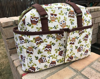 Handmade Diaper bag with Owl Print