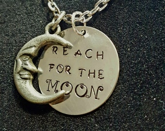 Reach for the moon necklace- for her- for him- birthday- Christmas- graduation-