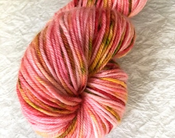 4-ply DK weight, Hand dyed yarn, Merino yarn, 100 grams, Strawberry Fields, yarn, Variegated, speckled