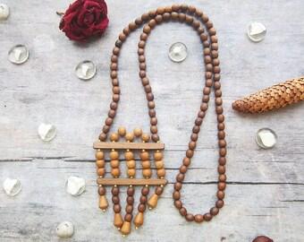 Vintage wood necklace Long Wood necklace Boho necklace Vintage jewelry Wood bead necklace Vintage necklace Geometric necklace Vegan necklace