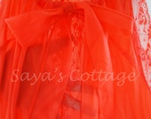 Vintage NEW Unique Design SEXY Seamprufe  Size38  Nightgown Lingerie  Palazzo Pants Halter Jumpsuit Coral Red  laces 100% Nylon