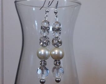 Romantic Candlelight Pearl, Glass and Crystal Dangle Bead Earrings