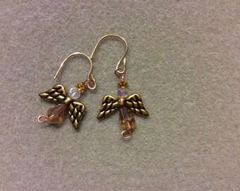 Golden angel earrings