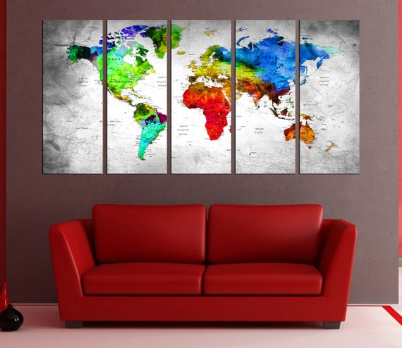 large wall art push pin world map canvas print travel map extra large canvas art detailed grey world map art abstract wall art no9s81