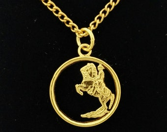 Spanish Five Pesetas - Gold Plated Coin Necklace