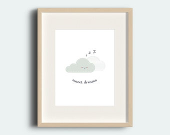 Sweet Dreams, Illustration, Children Illustration, Printable Decor, Cute Illustration, Rainy Cloud, Nursery Decor, Sleepy, Nursery Wall Art