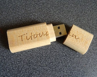 Customize engrave wood USB flash drive stick, wood name personalized gift