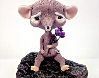 sweet mouse figurine art doll fantasy miniature ooak toy sculpted animal polymer clay collectible pure sculpt magical fairy tales creature