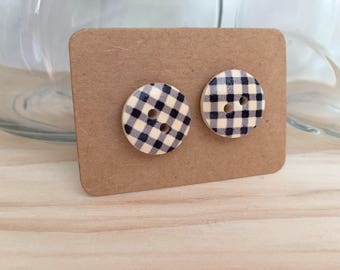 Black and White Check Button Earrings