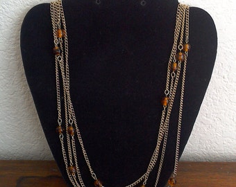 "20% off Goldtone Multiple Strands 27"" long with Amber Brown Gemstones Necklace  // Costume Jewelry"