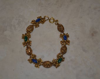 20% off Beautiful Gold Tone Filigree Emerald Green Blue Indigo Marbled Gemstones Stars Round Bracelet
