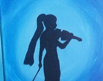 Violinist Silhouette Painting
