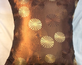Brown Taffeta with Embroidery Sparkle Pillow Cover-Faux suede Back SKU-111 18x18