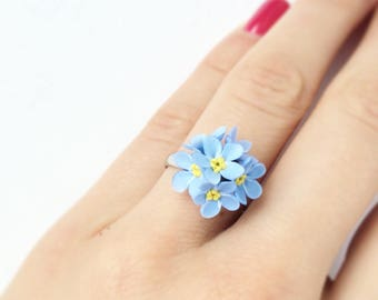 Forgetmenot ring, blue flower ring for rustic wedding, botanical ring, botanical jewelry, flower jewerly, woodland wedding ring, Blue ring