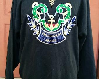 Rare !!! Trussardi Jeans big logo sweatshirt pull over jumper