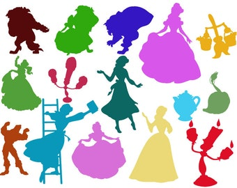 Beauty and the Beast svg, dxf, clipart, SVG files for Silhouette Cameo or Cricut, vector, svg, dxf ,eps,ai,png,jpg