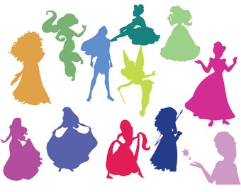 Disney Princess svg, dxf, clipart, SVG files for Silhouette Cameo or Cricut, Disney Princess, vector, svg, dxf ,eps,ai,png,jpg