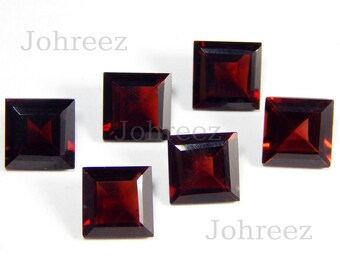 10 Piece Natural Garnet Square Shape Faceted Cut Loose Gemstone High Quality