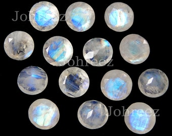 10 Pieces Natural Rainbow Moonstone Faceted Cut Round Shape Loose Gemstone Smooth Polished Gemstone Cut