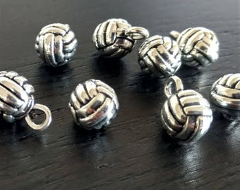 8 Volleyball Charms | Sports Charm | Volleyball Jewelry | Silver Volleyball | Volleyball Pendant | Bulk Charms | Ready to Ship USA | AS398-8